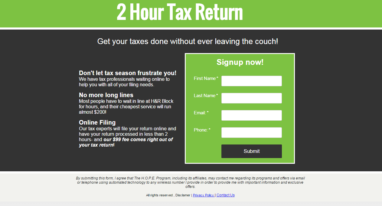 2hourtaxreturn screenshot
