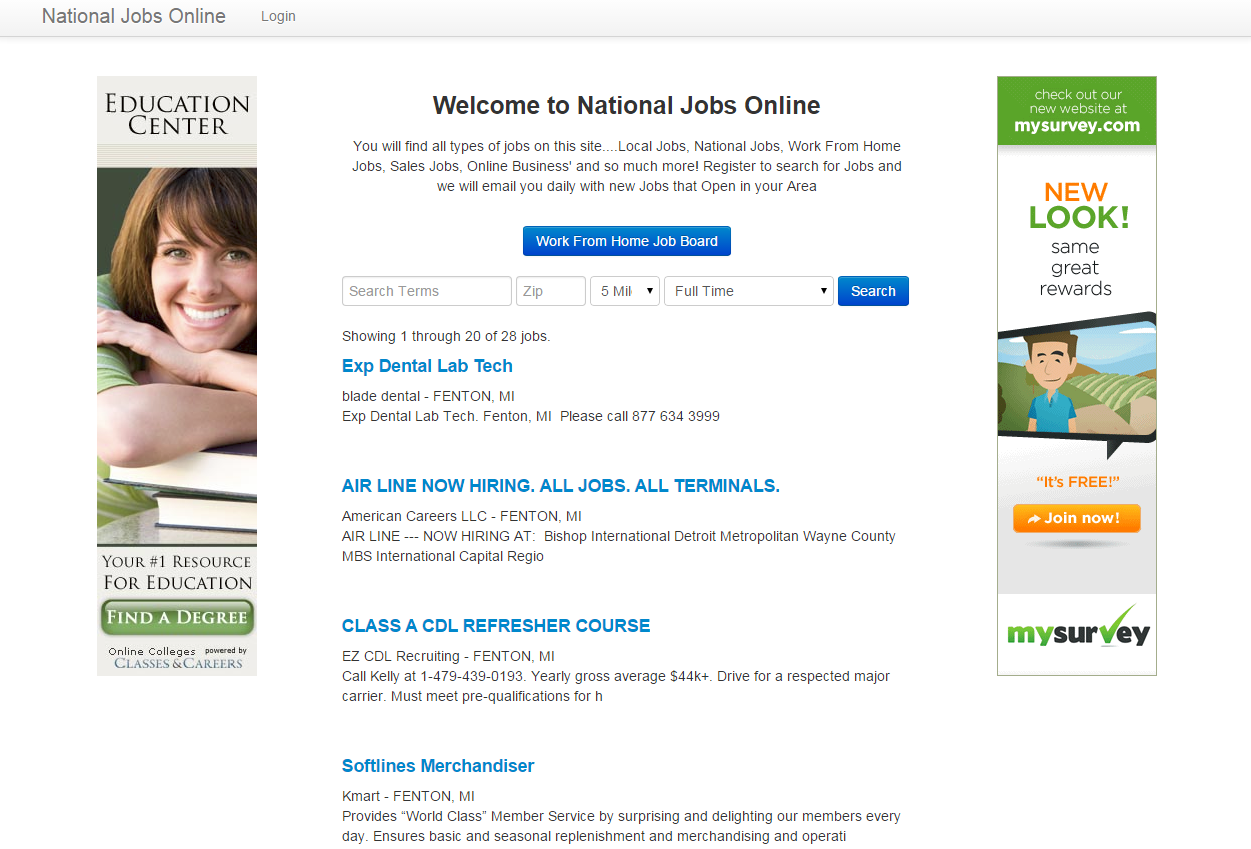 national jobs online screenshot