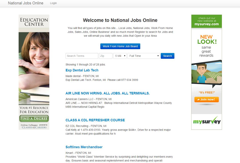 national jobs online screenshot